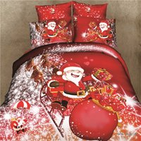 Wholesale Christmas Queen Size Comforter - Wholesale-SaLin 3D Christmas Gift Santa Claus Bedding Sets Bed Sheets Red Rose Duvet Cover Kids Comforter Sets Queen Size Bedclothes