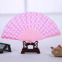 spanish wedding favors - Japanese Polka Dots Design Spanish Plastic Hand Folding Fan With Assorted Colors Wedding Party Favors And Gifts ZA3534