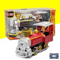 Wholesale Steam Models - Old Fashioned Steam Locomotive Alloy Model Toy Children's Train Toys Bring Sound And Light A-grade Alloy Material 96PCS Free DHL