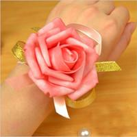 novia puede al por mayor-Flores artificiales Boda Muñeca Flor PU Rosa Dama de honor Mano Novia Ramillete 6-7cm 50pcs = 1lot 7 El color puede elegir