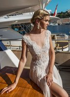 Wholesale Beach Weding Dresses - 2017 A-Line Bead Beach Weding Dresses With Cap Sleeves Bateau Neck Sheer Back Lace Appliques Wedding Dress With Split Cheap Bridal Gowns