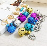 Wholesale Boxing Ring Bell - Free Cartoon cute metal candy color bells key ring pendant creative couple car bag pendant accessories R049 Arts and Crafts mix order