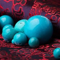 Wholesale Turquoise beads Natural Round stone Charms Fashion Jewelry Accessories for Necklace Bracelet DIY