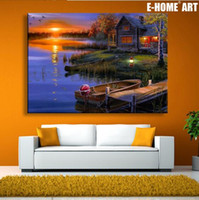 Wholesale Oil Paintings Ship Lake - Free Shipping Abstract Lake Landscape Wall Art LED Canvas Spray Painting Light Up Framed Artwork Decoration Bedroom   Living Room