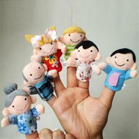 Wholesale Hand Puppets Toys - Wholesale-6Pcs Family Finger Puppets Cloth Doll Baby Educational Hand Toy Story Kid