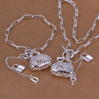 Wholesale indian gift bags resale online - best gift Checkered chain bag sterling silver plated jewelry sets for women DS006 popular silver necklace bracelet jewelry set