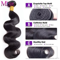 Wholesale Dyed Hair Weave - Milisa Brazilian Body Wave Virgin Hair Bundles Human Hair Weave Extensions 1 Bundle Wavy Hair Natural Black 1B Can be Dyed and Restyled