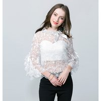 Wholesale elegant ruffled blouses - Top Fashion Women's Summer Elegant Designing Flare Sleeve Hollow Out Solid Color Bow Lace Blouse Sweet Shirt HIGH QUALITY