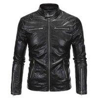 ingrosso uomini di giacca moto nero-New Motorcycle Faux Leather Jacket Uomo 2017 Fashion Black Moto Biker Giacca a vento Marca Veste Cuir Homme Jaqueta De Couro