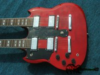 Wholesale Double Neck Oem - Red 6 12 Strings 1275 Double Neck Left Handed Electric Guitar Mahogany Body OEM From China