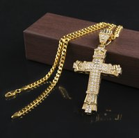 Wholesale Long Silver Cross - 2016 Retro Gold Cross Charm Pendant Full Ice Out CZ Simulated Diamonds Catholic Crucifix Pendant Necklace With Long Cuban Chain