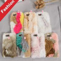 Wholesale Fuzzy Phone Cases - Diamond Fuzzy Rabbit Hair Fur TPU Case For Iphone 8 7 I7 Plus 6 6S SE 5 5S LG G5 Huawei P9 Lite Honor 8 Fashion Plush Phone Skin Cover 50pcs