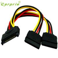 Wholesale Female Cable Connectors - Wholesale- Connector Cable 15Pin SATA Male To 2 Female 15Pin Power HDD Splitter Feb13 CARPRIE MotherLander