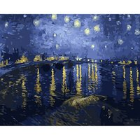 Wholesale River Paintings - Van Gogh Nile River Oil Painting Reproduction Famous Hand Painted Canvas Wall Art Decals Unframed Hangings