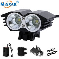 Wholesale Led Bike Head Light Rechargable - DHL Freeship 7000 LM 2*T6 LED Cycling Bike Bicycle Light Head Front Lights Flash Light Rechargable Waterproof Battery Headlight Lamp