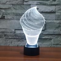 ingrosso luci di gelato-Spedizione gratuita 3D Lovely Ice Cream Night Light 7 Cambia colore LED Table Desk Lamp Acrilico piatto ABS Base USB Charger Decorazione della casa