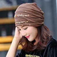 Wholesale Wholesale Chemo Hats - Stylish Ladies Womens Acrylic Rhinestone Beanie Slouch Baggy Turban Head Wrap Band Hat Cap Chemo Bandana