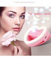 Wholesale Small Led Light Camera - Selfie Heart Shaped Flash Light with Small Mirror Rechargeable LED Clip Phone Camera Photography Fill Light For Phone