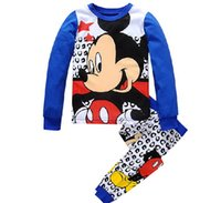 Wholesale Pajama Years - Wholesale- Kids Pajama Sets mickey Boys Sleepwear 2-7 Years Girls Pijamas Suit Children pyjama T-shirt + Pants Baby Girl Boy Clothing Set