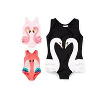 Wholesale Animal Print Girls Kids Swimsuit - Baby Girls Swimsuit 2017 New Cartoon Printed Kids Swimwear Summer swan One Piece parrot Swimming flamingos Children Beachwear C354