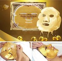 24 k altın kolajen toptan satış-Ucuz toptan Altın Biyo-Kolajen Yüz Maskesi Yüz Maskesi Kristal Altın Tozu Kollajen Yüz Maskesi Nemlendirici Anti-aging 24 k Altın Maskeleri