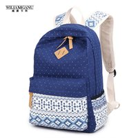 Wholesale Stylish Bags For Men - Wholesale- WILIAMGANU Women Backpack for School Teenagers Girls Vintage Stylish Ladies Bag Backpack Women Dotted Printing High Quality