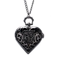Wholesale Heart Shaped Watches For Women - Wholesale-Vintage Black Hollow Heart Shaped Pocket Watch Necklace for Women Gift P76