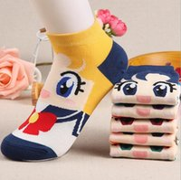 Wholesale Girls Cartoon Socks - New arrival Summer cute cartoon girl warrior shallow mouth thin cotton socks women socks LW019