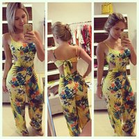 Wholesale Casual Jumpsuits For Women Plus - Wholesale- 2016 full length jumpsuits plus size S-XL printed summer long jumpsuit for women backless lace-up romper femme overalls YZ#845