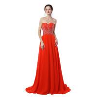 venta de vestidos de fiesta nuevos al por mayor-2019 Nueva Real Photo Sexy Sweetheart vestidos largos de baile fuera del hombro gasa con rebordear rojo A-Line vestido de noche Venta caliente