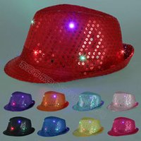 Wholesale Children Stingy Brim Hats - Led sequins jazz fedora Hat for adult and children Hot LED Lighted Up Glow Club Party Hip-Hop Jazz Dance lights Led Hats Caps