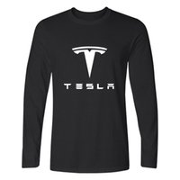 Wholesale White Green Motors - Wholesale- Tesla T-shirt Men Long Sleeve TShirts with Tesla Motors Black and White T Shirt in 4XL Brand Tee Shirts