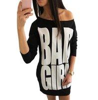 ingrosso vestiti di tunica nera-Summer Bad Girl lettere stampa t-shirt abito donna grigio nero a maniche lunghe sciolti abiti a tunica casual lunghe Tops Vestitino estivo