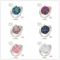 Wholesale gold drusy ring - Fashion Resin Druzy Drusy Open Ring Gold Silver Plated 6 Colors Imitation Lava Stone Finger Rings Woman Jewelry