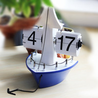 pages auto - Retro Auto Flip Clock Desk Decor Flipped Down Page Internal Gear Silence Movement Ship Shaped Operated Table Alarm