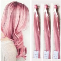 Silk Straight Pink Hair Humano Teve Rose Pink Brazilian Virgin Hair Bundles 3pcs / lot Pink Hair Extensions Double Wefts 8A Grade Wefts