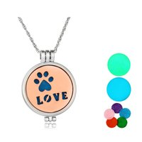 Pendant Necklaces South American Women's Plain Dog Pet Love (30mm) Luminous In Dark Aromatherapy   Essential Oil surgical Stainless Steel Perfume Diffuser Locket Necklace