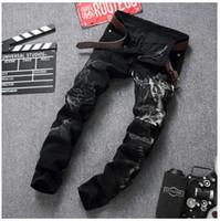 Wholesale Denim Retro Top - New Original Design Top Quality Men's Retro Painted Slim Printed Jeans Microstretch Dimensional cut beggar pants Motorcycle Jeans
