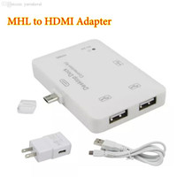 Wholesale Galaxy Docking Hdmi - Wholesale-MHL HDMI USB OTG HUB Desktop Dock Adapter Connection Kit Micro USB MHL to HDMI Adapter for Samsung Galaxy S3 4 Note 2 3