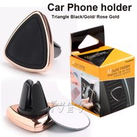 Wholesale Triangle Phone Stand - Universal Dock Station Magnetic Car Phone Holder Triangle Air Vent Mount Magnet Stand For iphone 7 plus Samsung S8 S7 GPS Car Free shipping