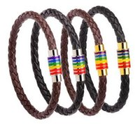 Wholesale Pride Bracelets - Men Rainbow Jewelry Charm Leather Bracelet With Stainless Steel Accessories Gay Pride Bracelet For Gay Holiday