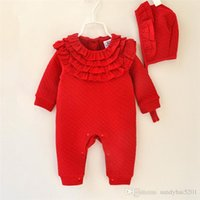 Wholesale One Piece Thick - Babygrow Warm Romper 2017 Winter Kids Girl Thick Jumpsuit Newborn Ruffle One-piece Infant Birthday Gift Outfits Children Clothes