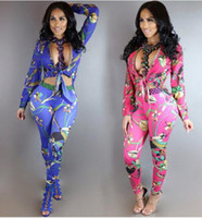Wholesale Pants Woman Party - 2017 new Women Two Piece Pants Fashion Floral print Long Sleeve Skinny Jumpsuit Casual Party Playsuit Ladies Cardigan Blouse Tops+Pants