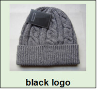 Wholesale Wool Acrylic Yarn Black - 2017 Fashion Unisex Spring Winter Hats for Men women Knitted Beanie Wool Hat Man Knit Bonnet Polo Beanie Gorros touca Thicken Warm Cap