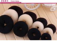 estilos de anillos de bollo al por mayor-20pcs Hair Volumizing Scrunchie Donut anillo estilo Bun Scrunchy calcetín Poof Bump It Snooki