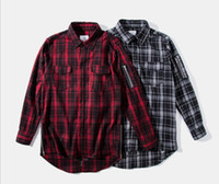Wholesale Hand Embroidered Shirts - | 2017 new spring and autumn long embroidered hem side zipper checkered men's tide brand shirts high-quality fine workmanship welcome custom