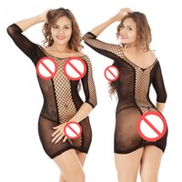 Wholesale Adult Sexy Short Skirts - Ladies Sexy Fishing Net Nightwear See Through Long Sleeve Short Skirt Tempting Adult Socks Free Shipping