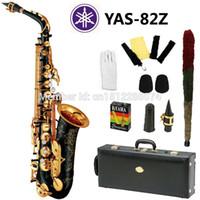Wholesale Alto Saxophone Black - Wholesale- New Nickel Plated Black Saxophone Alto Sax YAS 82Z Musical Instruments Professional E-flat Sax Alto Saxofone Saxophone