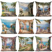 Wholesale High Chair Cover Patterns - High Quality Courtyard Scenic Cushion Cover Sea and Tree Pattern Decorative Sofa Throw Pillow Car Chair Home Decor Pillow Case