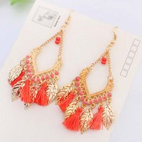 Wholesale Dangle Feather Earings - Tassel chandelier earrings jewelry fashion women bohemia colorful feathers gold plated chains tassels alloy long dangle earings 170752
